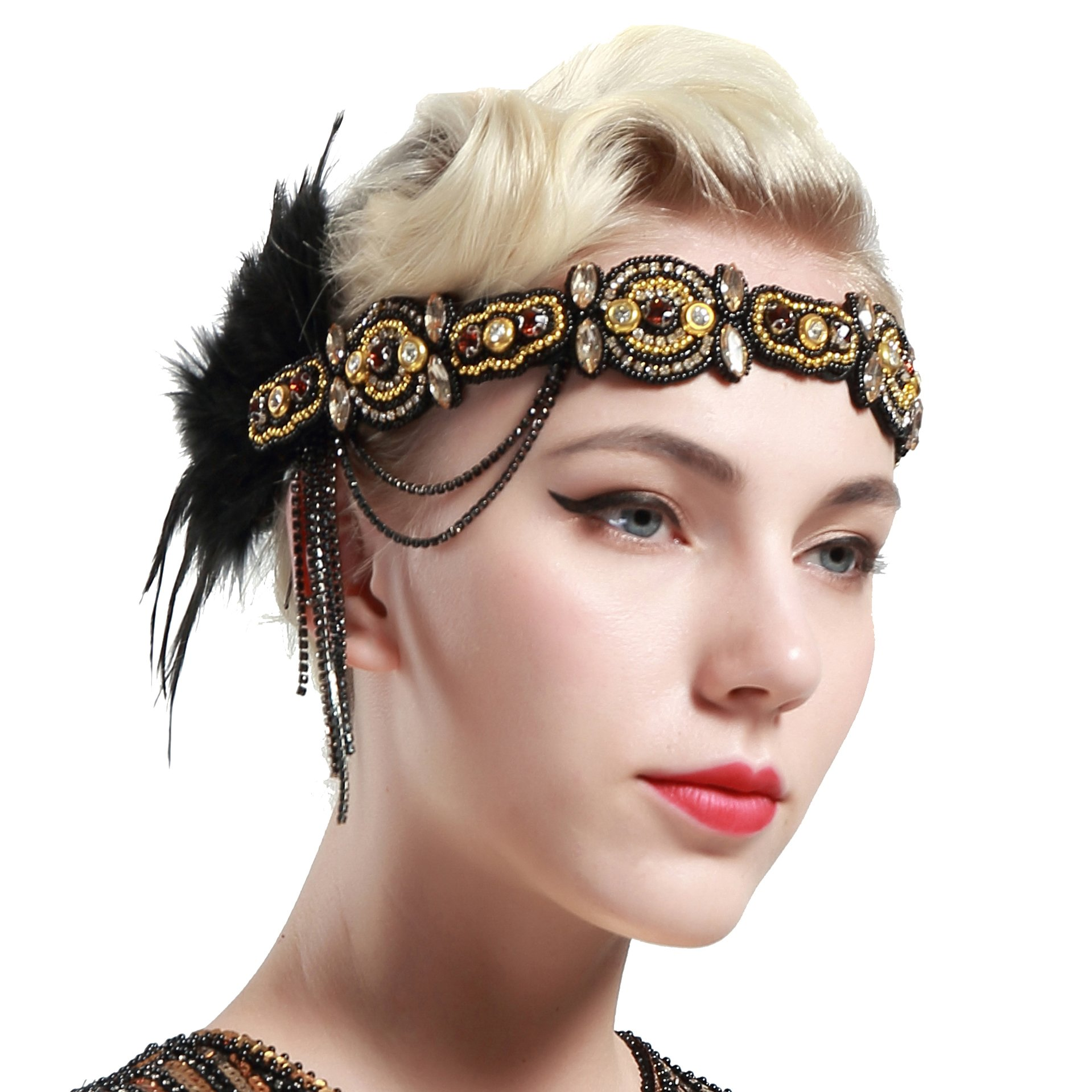 BABEYOND 1920s Flapper Headband Roaring 20s Gatsby Headpiece Black Feather Headband 1920s Flapper Hair Accessories