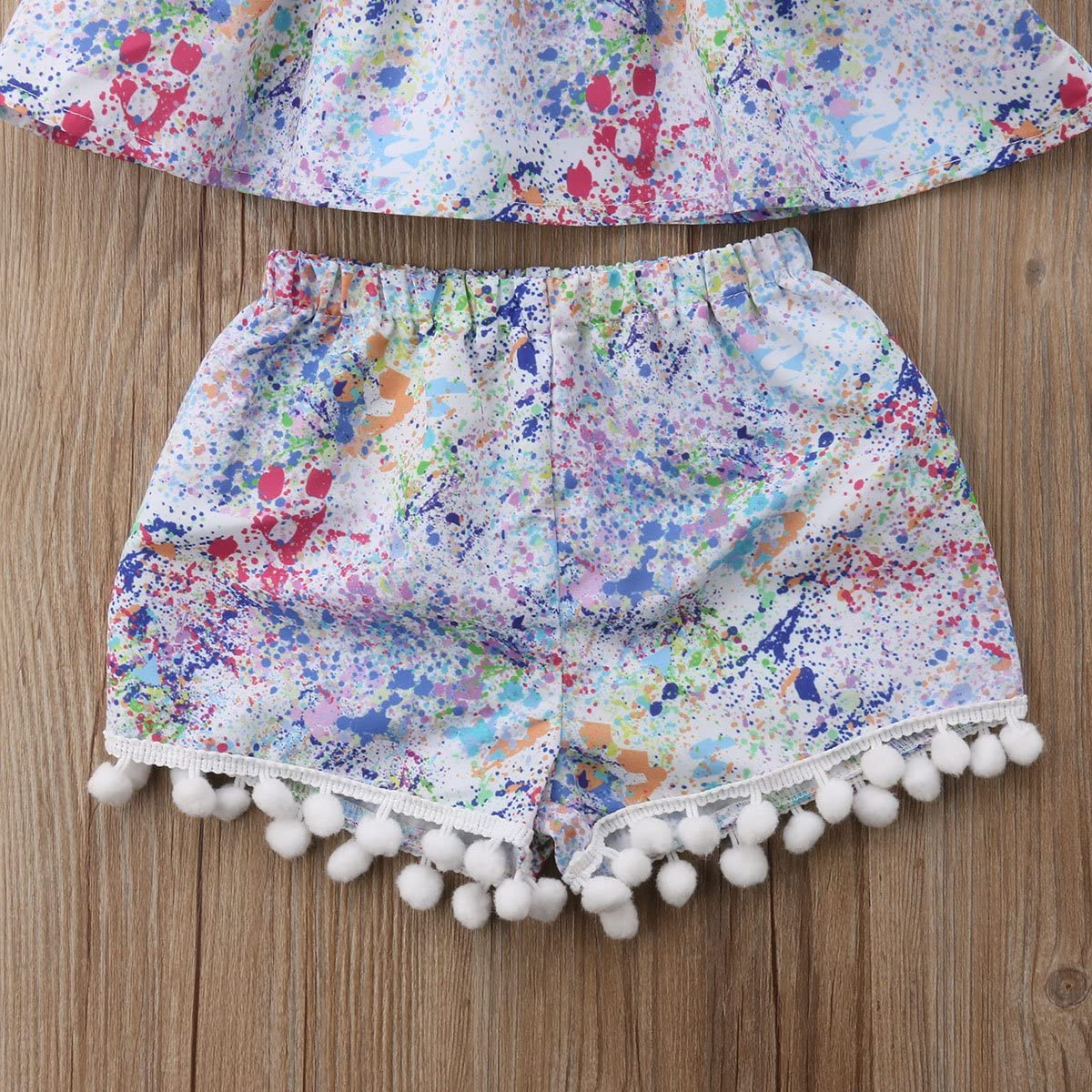Infant Baby Girls 3Pcs Outfits Multicolored Off Shoulder Crop Top+High Waist Shorts+Headband Clothing Set