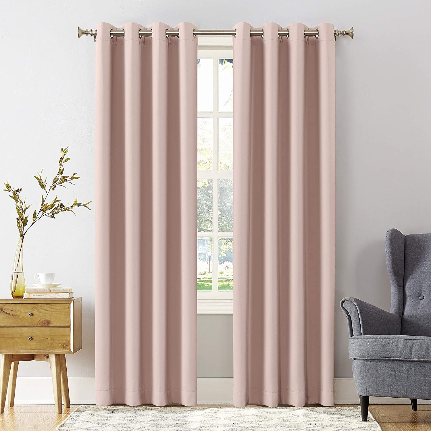 "Sun Zero Easton Blackout Energy Efficient Grommet Curtain Panel, 54"" x 63"", Blush Pink"
