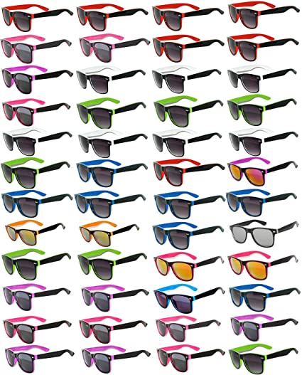 e7df490ca89 Amazon.com  48 Pieces Per Case Wholesale Lot Sunglasses. Assorted Colored  Frame Fashion Sunglasses.Bulk Sunglasses - Wholesale Bulk Party Glasses