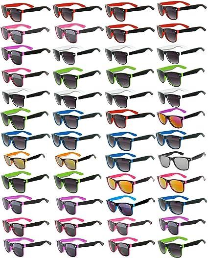 056d7fd425 Amazon.com  48 Pieces Per Case Wholesale Lot Sunglasses. Assorted Colored  Frame Fashion Sunglasses.Bulk Sunglasses - Wholesale Bulk Party Glasses