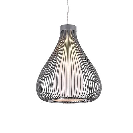 [lux.pro] Lámpara de techo tipo colgante con pantalla decorativa metálica - colgante moderna - gris (E27)