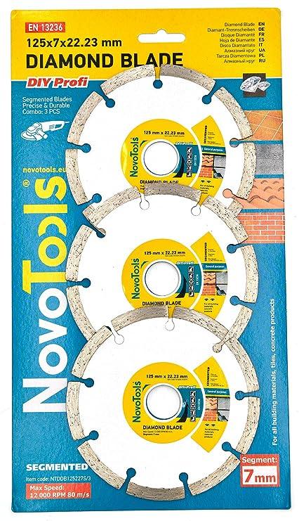 NOVOTOOLS 3 pzs x 125 mm Segmentados Discos De Corte De Diamante ...