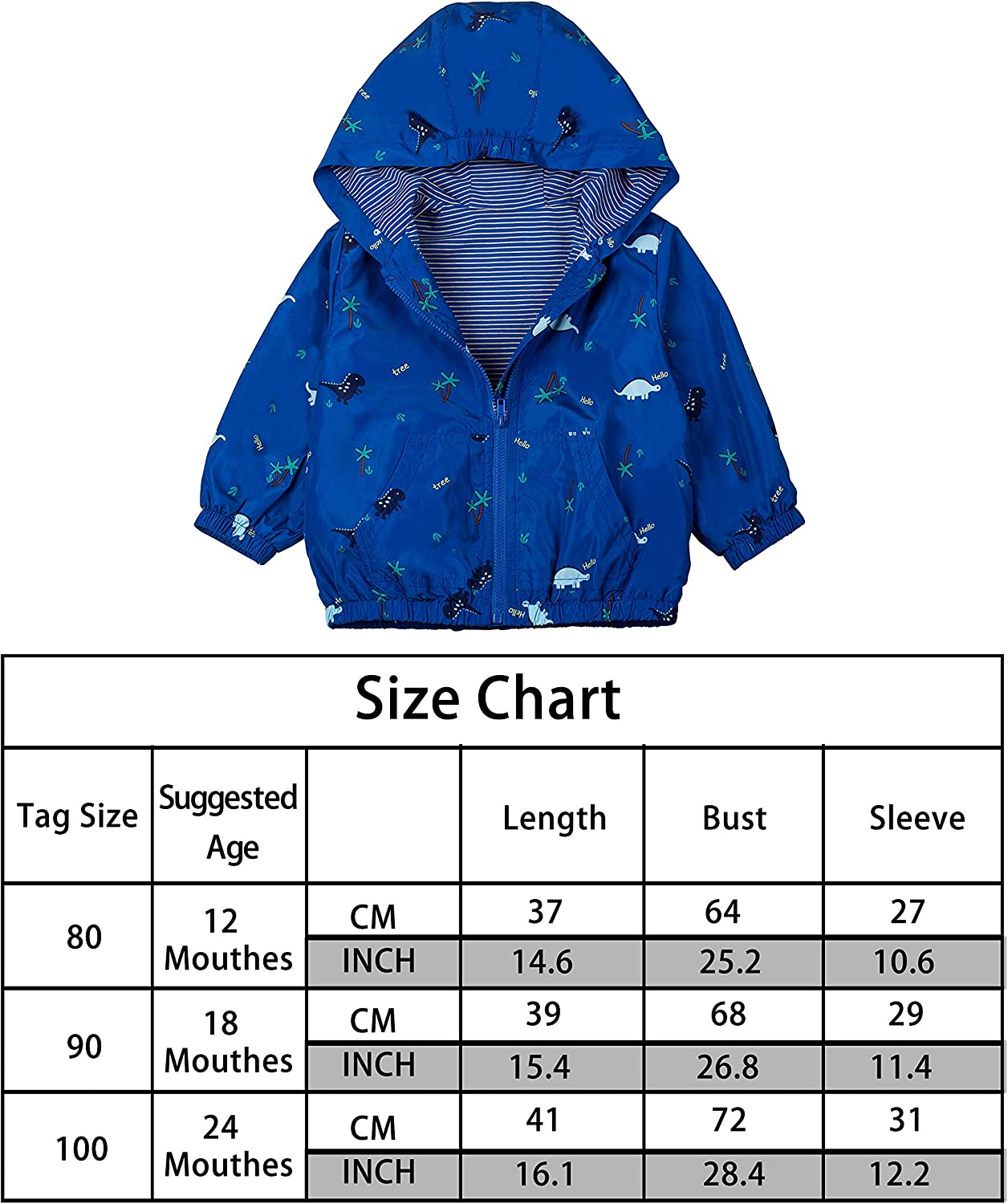 COTTON FAIRY Baby Boys/' Hoodie Windbreaker Jacket for Toddle Kids Casual Outerwear