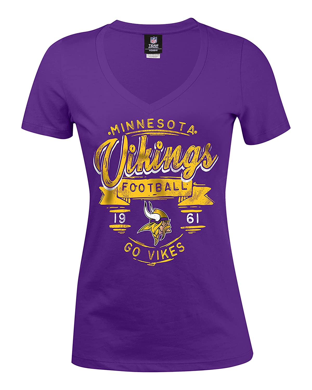 Amazon.com   NFL Minnesota Vikings Women s Baby Jersey Short Sleeve V-Neck  Tee 718c6db61c