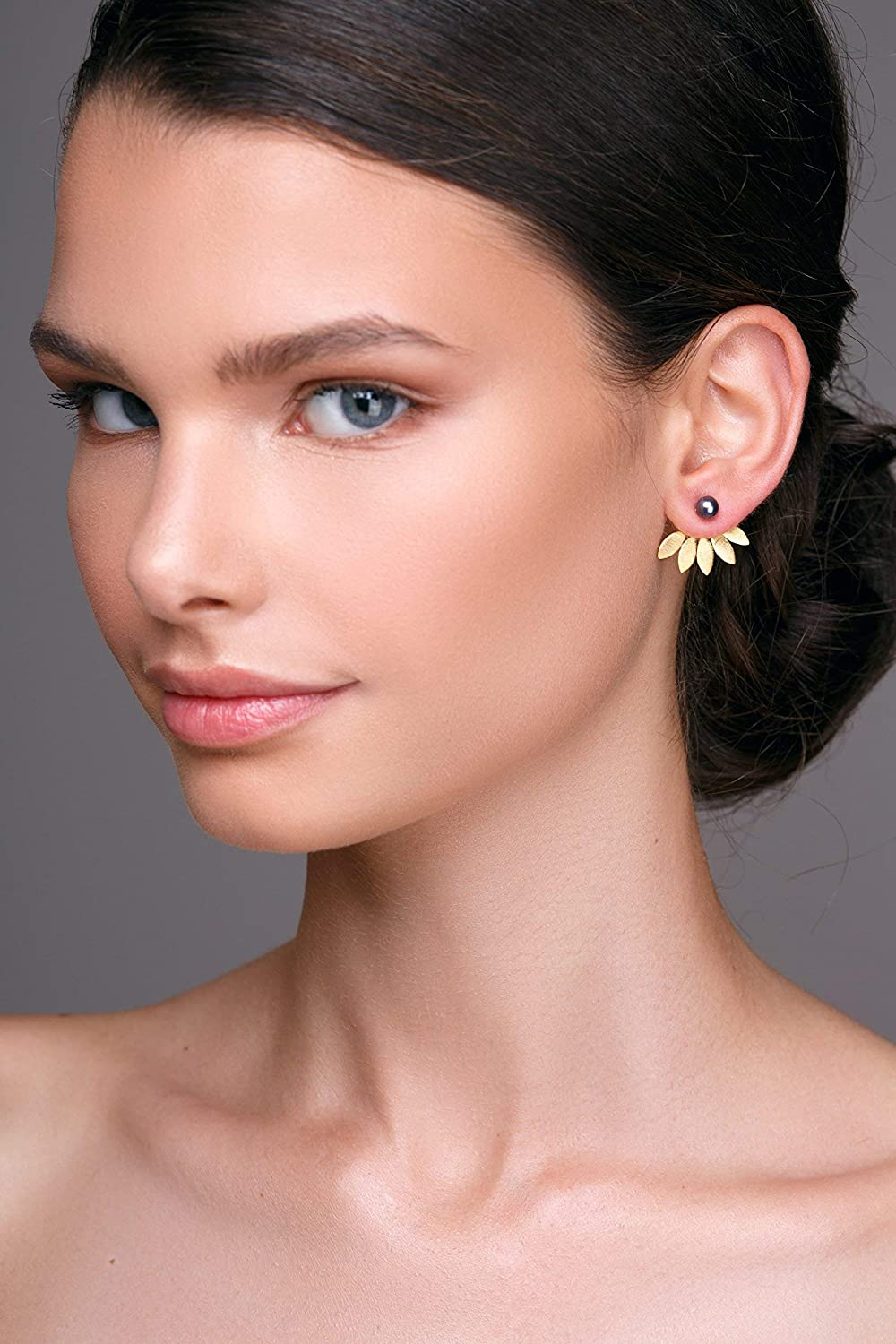 Dainty studs Pair of black pearl studs with gold ear jacket earrings in sterling silver gift by Emmanuela