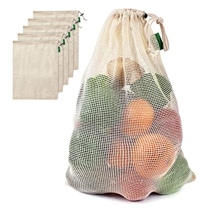 Travel & To-Go Food Containers Natural Durable Cotton See-Through Mesh Produce Bags with Tare Weight on Tags Eco Friendly Recyclable Packaging Bags for Grocery Shopping & Storage Set of 9 Storage & Organization Reusable Cotton Mesh Produce Bags