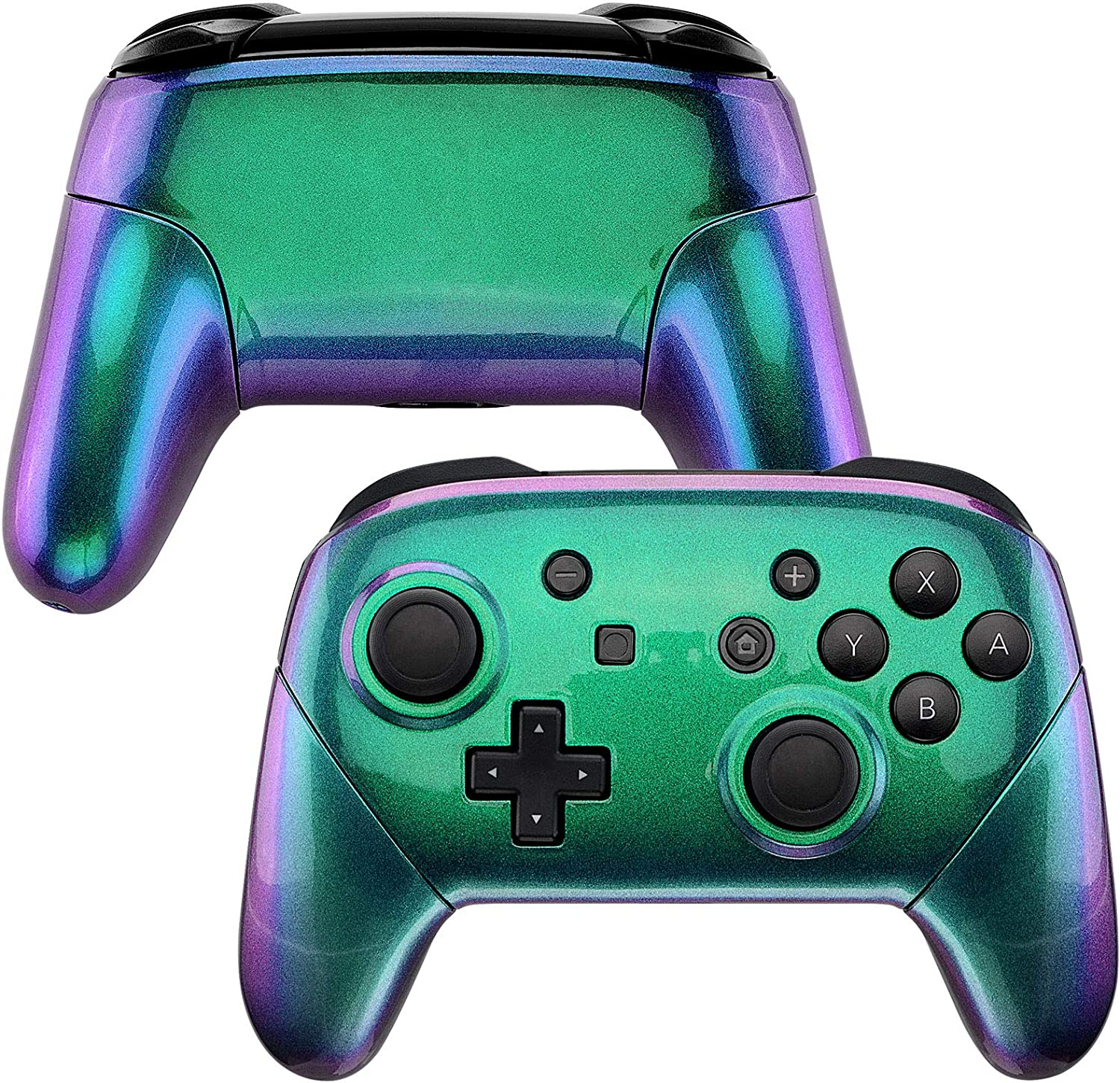 eXtremeRate Chameleon Faceplate Backplate Handles for Nintendo Switch Pro Controller, Green Purple DIY Replacement Grip Housing Shell Cover for Nintendo Switch Pro - Controller NOT Included: Computers & Accessories