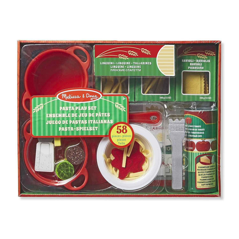Pretend Play, Felt Kitchen Set, Easy to Use, 50+ Piece Set, 25.4 cm H x 22.86 cm W x 7.62 cm L Melissa /& Doug Prepare and Serve Pasta