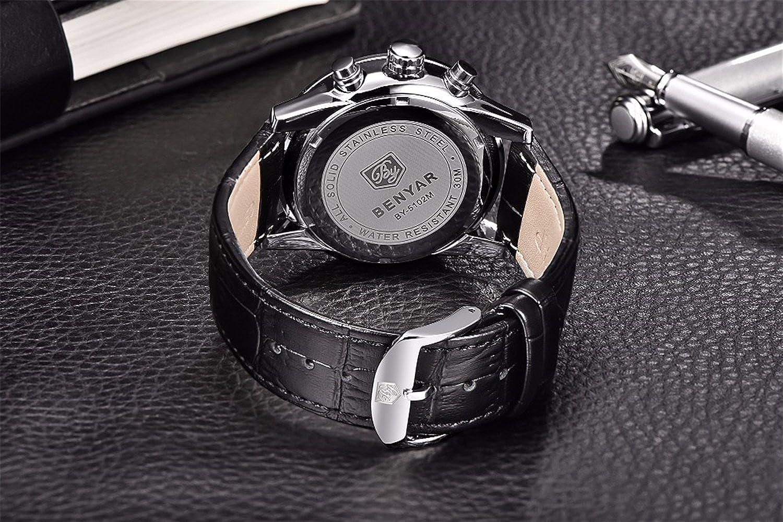 Amazon.com: Fashion Mens Watches Analog Quartz Wristwatch Waterproof Chronograph Auto Date Leather Band 5102QQ: Watches