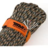 "TITAN SurvivorCord | 100 Feet | Patented Military Type III 550 Paracord / Parachute Cord (3/16"" Diameter) with Integrated Fishing Line, Fire-Starter, and Snare Wire. FREE Paracord Projects eBook."