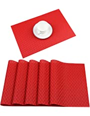 Homcomodar Vinyl Placemats Plastic Woven Dining Table Mats Washable Heat Resistant Place Mats Set of 6
