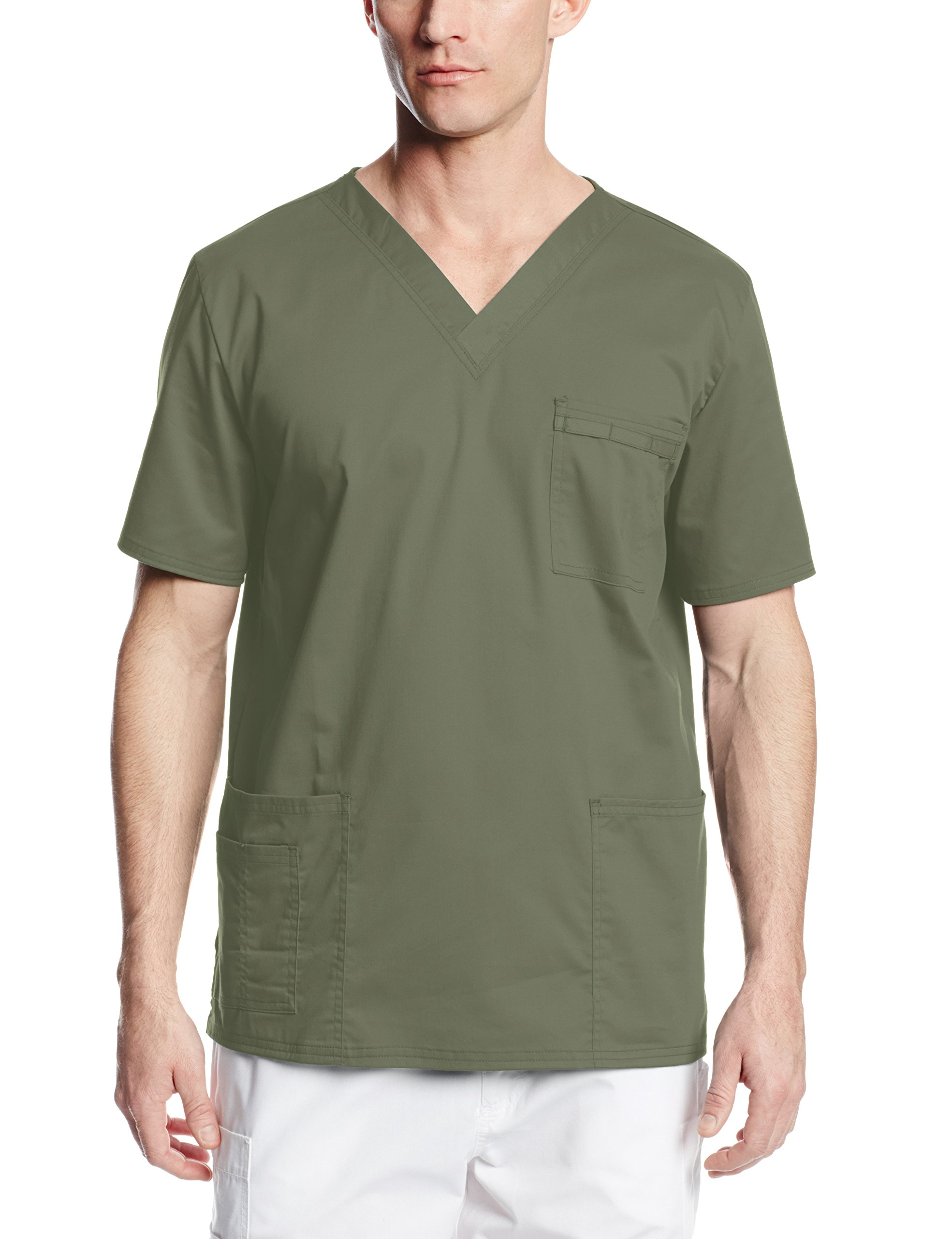 Cherokee Men's Ww Core Stretch Unisex V-Neck Scrub Top, Olive, X-Small