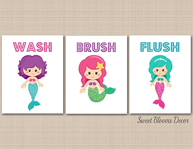 Charmant Mermaid Bathroom Wall Art,Mermaid Bathroom Décor,Under The Sea Bathroom  Wall Art,