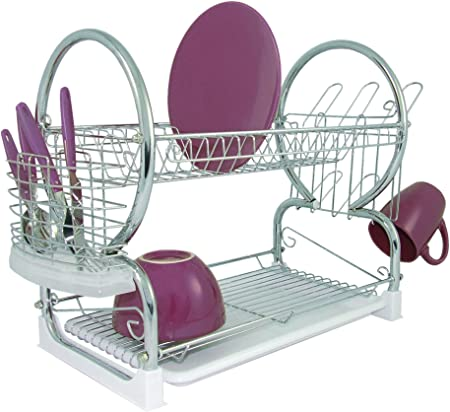 Premier Housewares 2 Tier Dish Drainer Dish Rack With Drip Tray