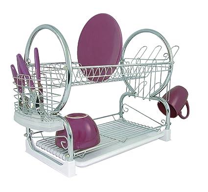 Premier Housewares - Escurridor de platos de 2 pisos (con bandeja extraíble  color blanco) 4e28090192f7