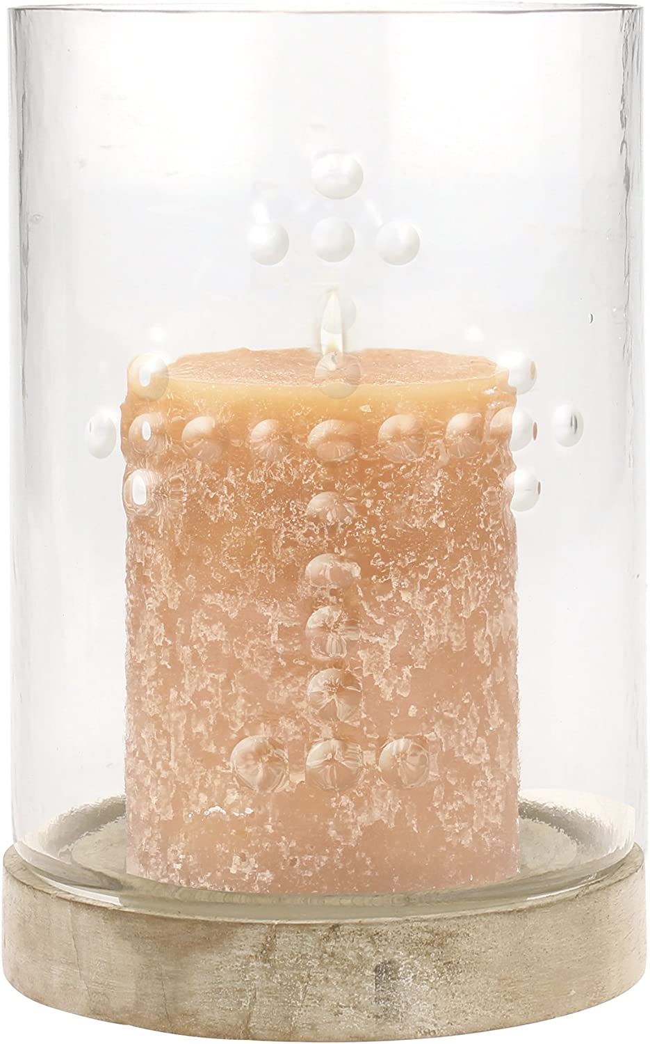 Stonebriar Decorative Pressed Glass Hurricane Pillar Candle Holder with Raised Cross Detail and Wooden Base, Religious Home Decor Accessories, Decoration for Mantel, Table Top, or Prayer Alter