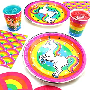 Rainbow Unicorn Party Supplies Decorations, (Value) Birthday Party Pack Includes a 37 Piece Set (Unicorn Birthday Decoration for 8 Guests), Birthday Supplies by Prime Party