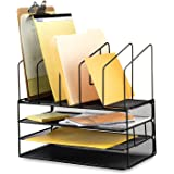 Callas Mesh Desk Organizer with Three Trays and 5 Upright Sections (Black)
