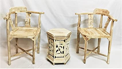 Arredamento Etnico Chic : Set sedie e tavolino etnico da ingresso shabby chic studio legno