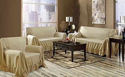 Venice 3 Piece Sofa, Loveseat, Chair Protector Throw Cover Set (Gold)