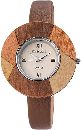 Reloj mujer Beige Marrón Efecto de madera números Romanos analógico de cuarzo piel Reloj de pulsera