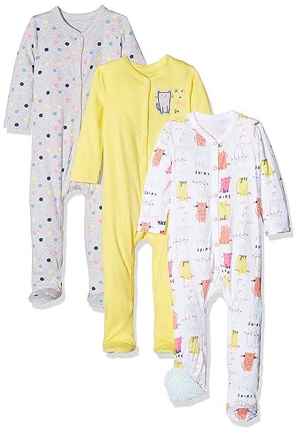 Mothercare 3 Pack, Pelele para Dormir para Bebés, Rosa (Pink 130) Recién