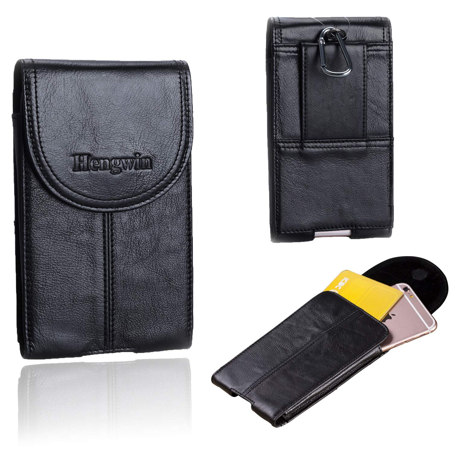 Hengwin Genuine Leather Holster for iPhone 11 Pro Max Case with Belt Clip, Samsung Galaxy Note 10 9 8 Holster Case with Belt Loop Phone Holder iPhone Pouch Belt Case for Men Waist Fanny Pack (Black)