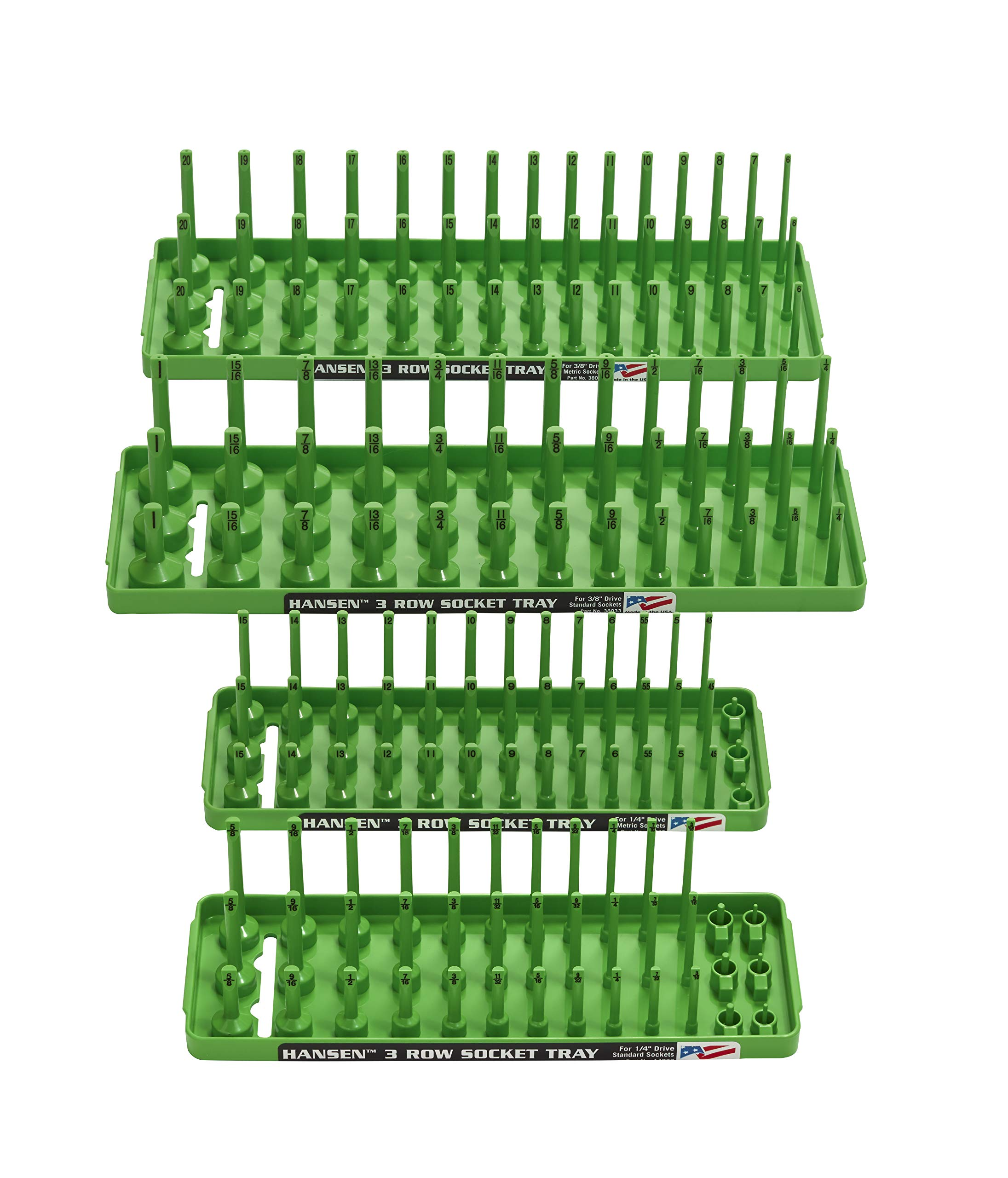 Hansen Global 92004 SAE & Metric, 3-Row Socket Tray Set - 4-Pieces, Green by Hansen Global