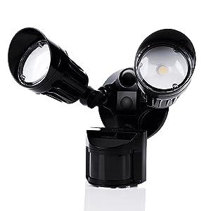 Hyperikon LED Outdoor Security Flood Light with Motion Sensor, Dusk to Dawn, Black, 20W (100W Equivalent) LED Motion Light, 1800lm, Waterproof IP65 & UL, Adjustable Head, 5000K