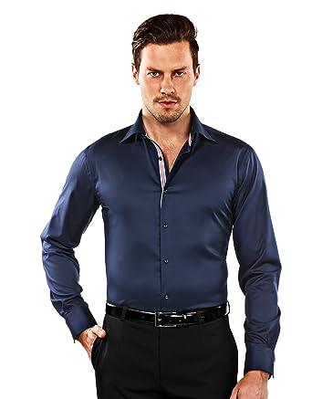 Vincenzo Boretti Herren-Hemd bügelfrei 100% Baumwolle Slim-fit tailliert Uni -Farben dunkelblau - Männer lang-arm Hemden für Anzug mit Krawatte Business  ... 9ed21cd212