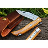 """DKC-50 SLY FOX Damascus Folding Pocket Knife 4"""" Folded 7.5"""" Long 3.4 oz High Class Looks Incredible Feels Great In Your Hand And Pocket Hand Made DKC Knives"""