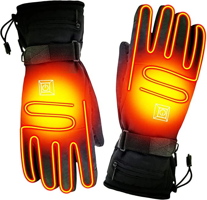 CLISPEED One Pair Heated Gloves 3 Modes Touch Screen Hand Warmer Warm Gloves for Skiing Hiking Outdoor Sports
