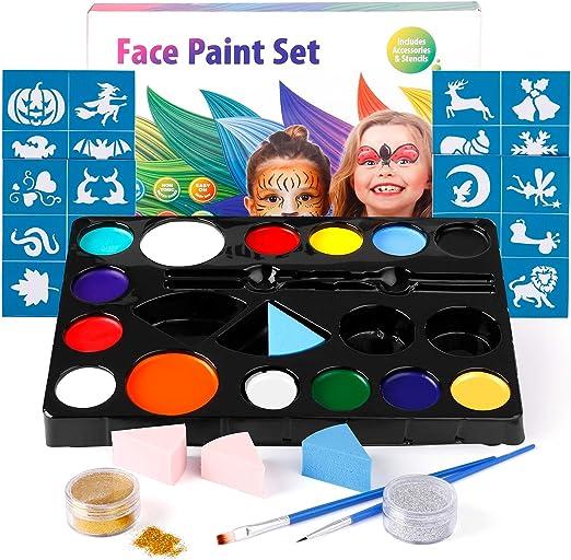 amzdeal Pintura Facial con 14 Colores Pintura Cara para la Fiesta Navidad Kit de Pintura Maquillaje como Regalos de los niños con Polvo Brillo*2, Pigmento*14 y Pincel*2: Amazon.es: Productos para mascotas