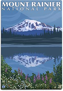 product image for Lantern Press Mount Rainier, Washington, Reflection Lake (12x18 Aluminum Wall Sign, Wall Decor Ready to Hang)
