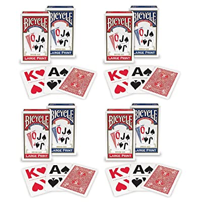 Bicycle Large Print Playing Cards (4-Pack): Sports & Outdoors