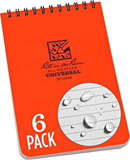 """product image for Rite in the Rain Weatherproof Top Spiral Notebook, 4"""" x 6"""", Orange Cover, Universal Pattern, 6 Pack (No. OR46L6)"""