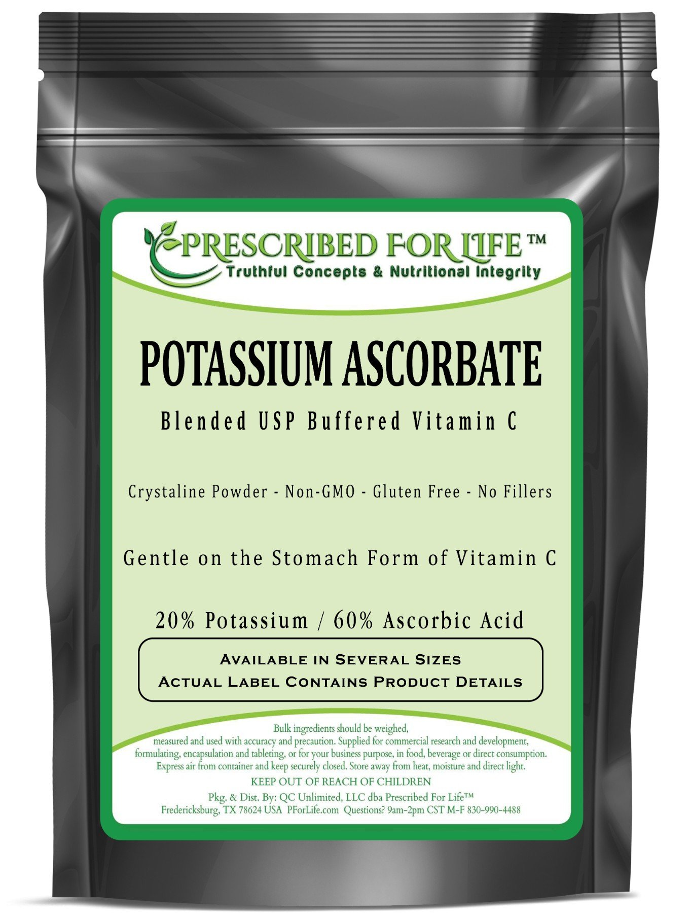 Potassium Ascorbate - Blended USP Buffered Vitamin C Powder - 20% K / 60% Ascorbic Acid, 25 kg