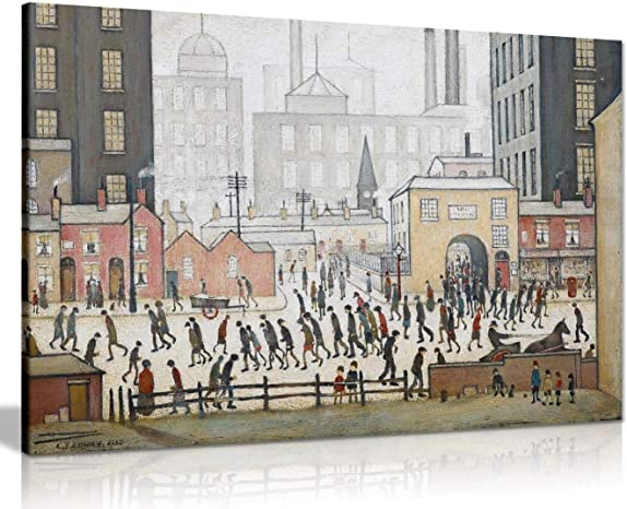 L.S Lowry Coming from The Mill Painting Canvas Print Wall Art Picture Home Decor 36x24in