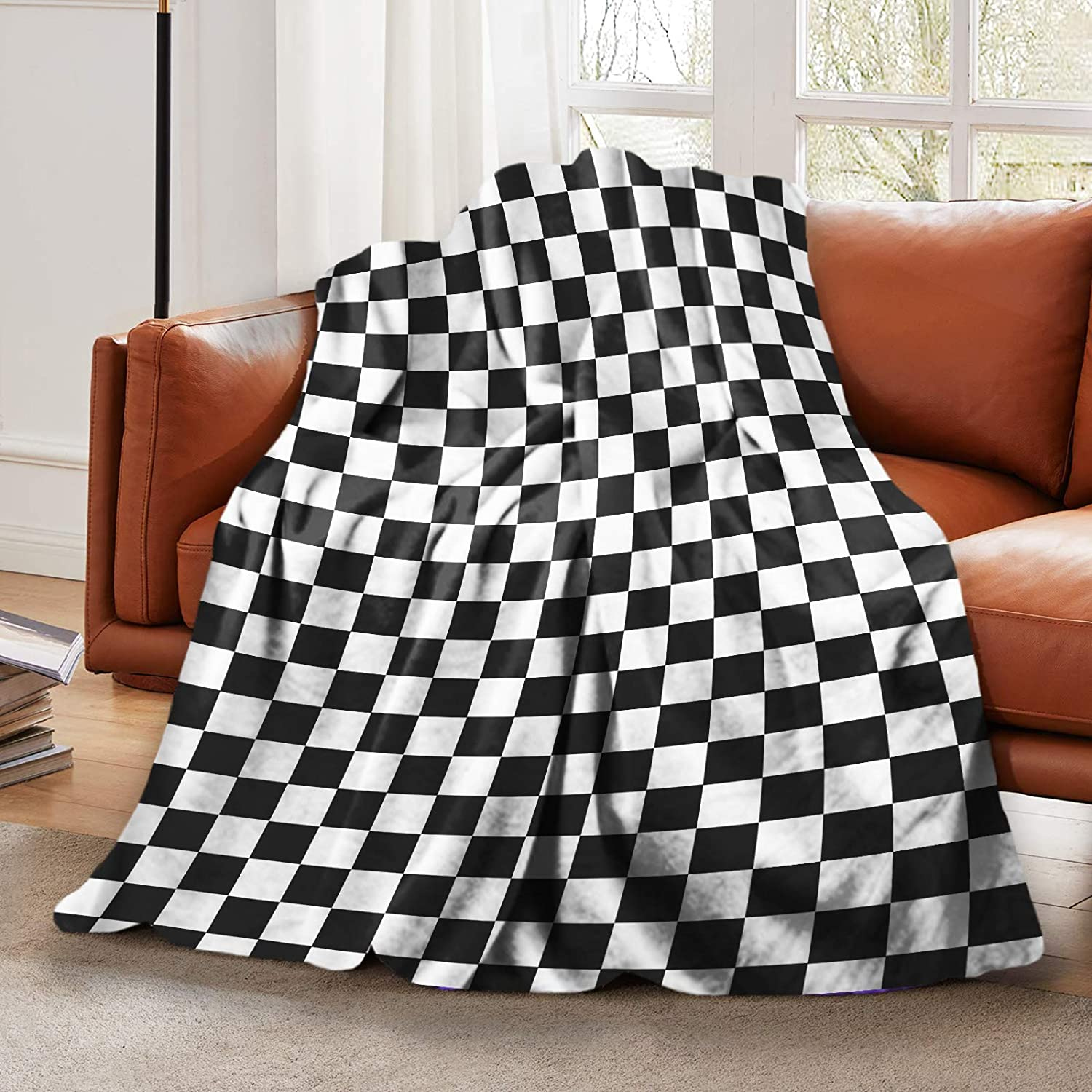 "LELEMATE Plush Fluffy Throw Blanket Race Waving Checkered Flag Bed Blanket for Boys Girls Teens Smooth Soft Flannel Blanket for Sofa Chair Office Travel Camping Outdoor Home Decor 50""x60"""
