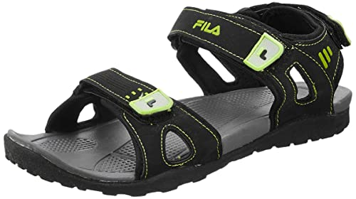 74d78e206af1 Fila Men s Falkner Black Lime Sandals and Floaters - 11 UK India (45 ...