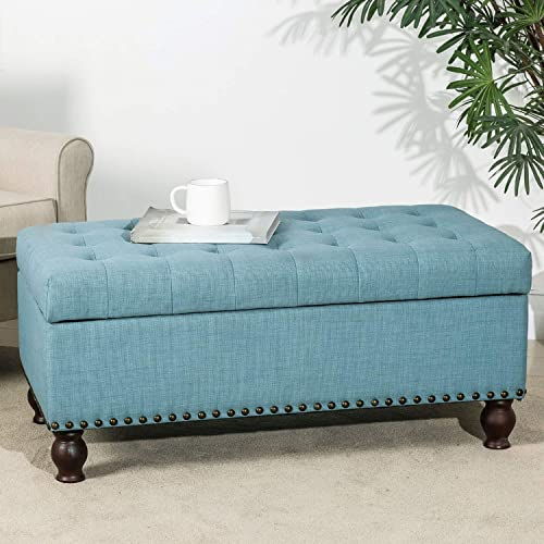 Asense Fabric Rectangle Tufted Lift Top Storage Ottoman Bench, Footstool with Solid Wood Legs, Nail-Head Trim
