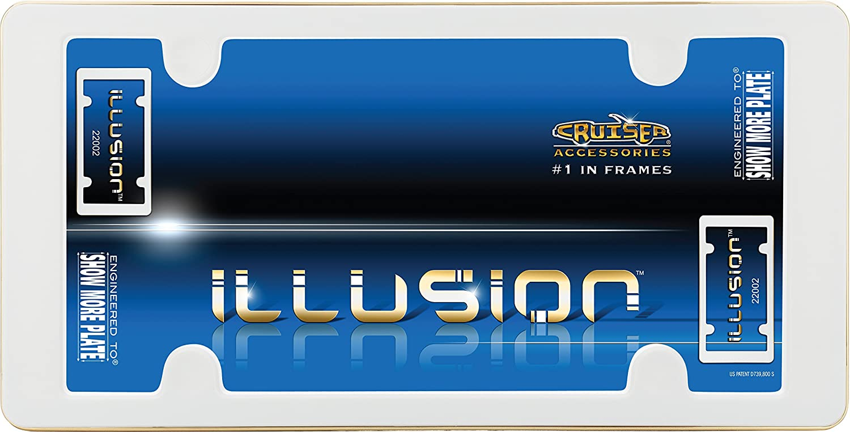 Cruiser Accessories 22002 Illusion License Plate Frame White//Gold