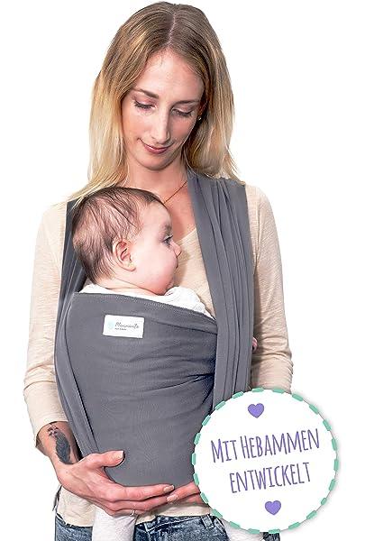grau BABYTRAGETUCH Babytrage Bauchtrage Tragetuch elastisch 5m