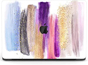 Mertak Hard Case for Apple MacBook Pro 16 Air 13 inch Mac 15 Retina 12 11 2020 2019 2018 2017 Touch Bar Glam Cover Design Abstract Print Plastic Luxury Paint Colorful Strokes Clear Girly Laptop