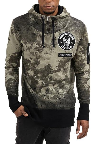 trueprodigy Casual Hombre marca Sudadera Zip estampado ropa retro vintage rock vestir moda con capucha manga