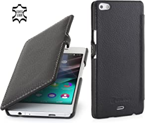 StilGut Book Type Case con Clip, Custodia in Vera Pelle a Libro per Wiko Highway Pure, Nero