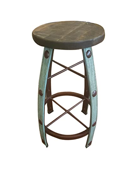 Strange Rustic Bar Stool Stave Wine Barrel Wood Seat Ships Already Assembled 30 Inch Turquoise Barrel Style Gmtry Best Dining Table And Chair Ideas Images Gmtryco