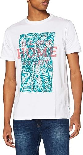 TALLA L. Springfield Camiseta Estampada Hoja T-Shirt para Hombre