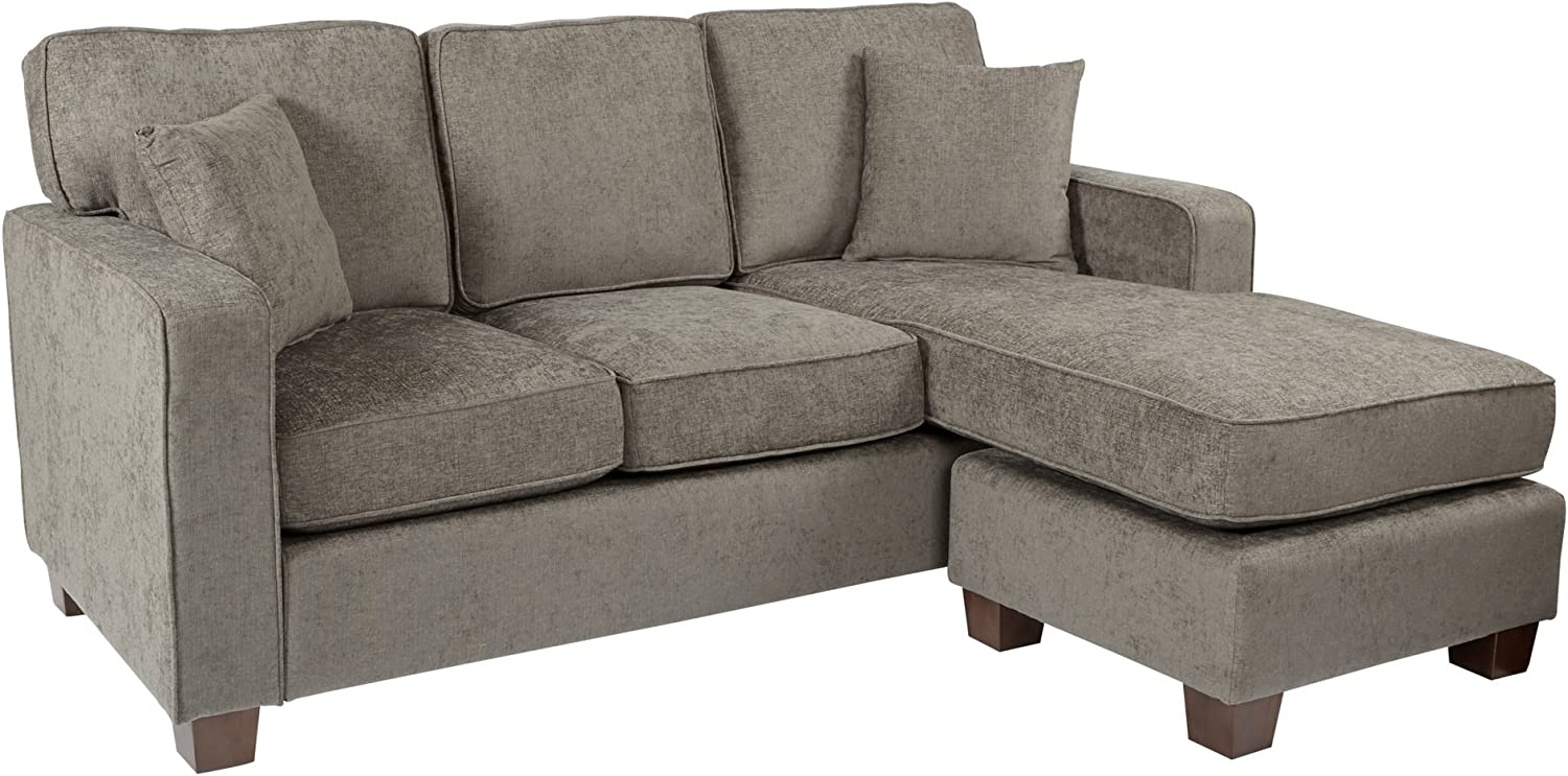 OSP Home Furnishings Russell Reversible Sectional Sofa with 2 Pillows and Coffee Finished Legs, Taupe